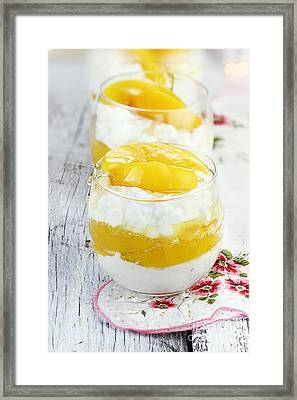 Cottage Cheese And Peaches  Framed Print by Stephanie Frey