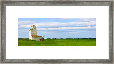 Country Grain Elevator Panoramic Framed Print by Corey Hochachka