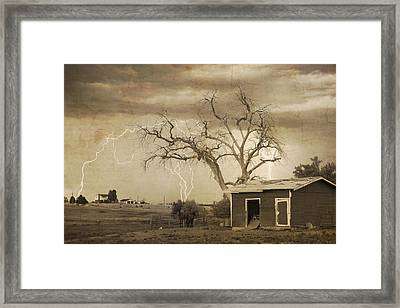 Country Horses Lightning Storm Ne Boulder County Co 76septx Framed Print by James BO  Insogna