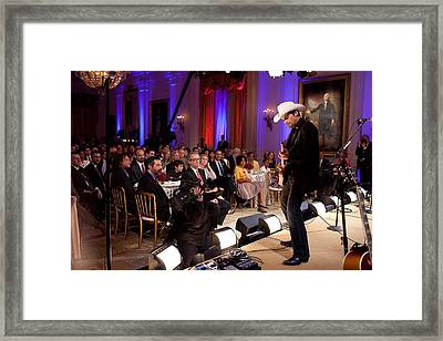 Country Singer Brad Paisley Performs Framed Print by Everett