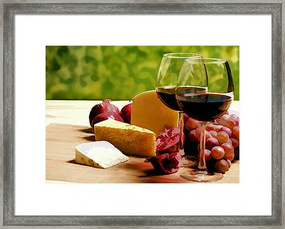 Countryside Wine  Cheese And Fruit Framed Print by Elaine Plesser