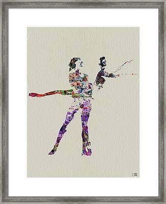 Couple Dancing Framed Print by Naxart Studio