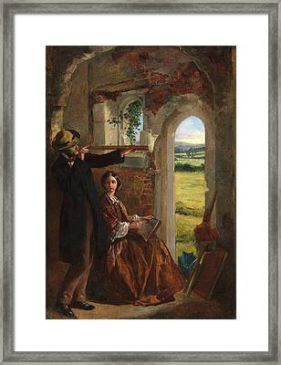 Couple Observing A Landscape Framed Print by English School