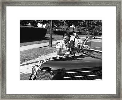 Couple Posing At Open Top Car, (b&w), Portrait Framed Print by George Marks