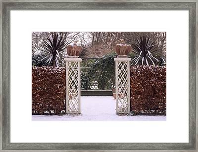 Courtyard Garden, Italianate Style, Winter Snow Framed Print by Neil Holmes