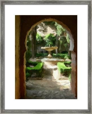 Courtyard In Sunshine Through Moorish Arches Framed Print by Elaine Plesser
