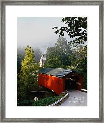 Covered Bridge Framed Print by Rafael Macia and Photo Researchers