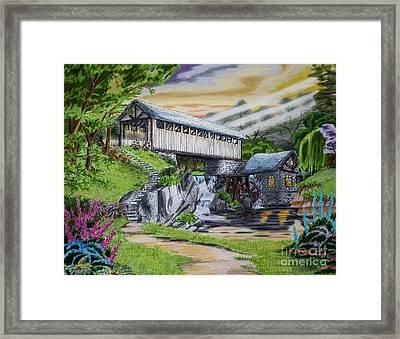 Covered Bridge Framed Print by Robert Thornton