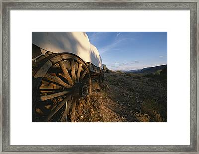 Covered Wagon At Bar 10 Ranch Framed Print by Todd Gipstein