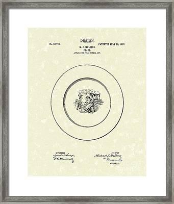 Cow Milking Plate Design 1907 Patent Art Framed Print by Prior Art Design