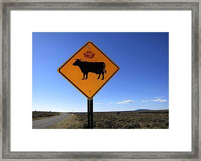 Cow Ufo Road Sign  Framed Print by Ann Powell