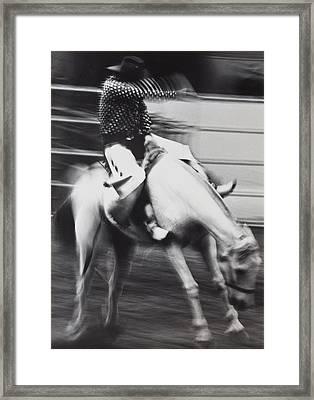 Cowboy Riding Bucking Horse  Framed Print by Garry Gay