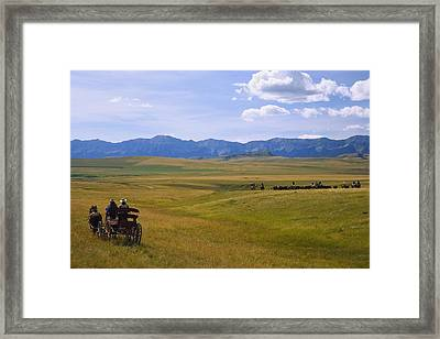 Cowboys And Wagon On A Cattle Drive Framed Print by Carson Ganci