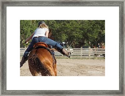 Cowgirl Away Framed Print by Lynda Dawson-Youngclaus
