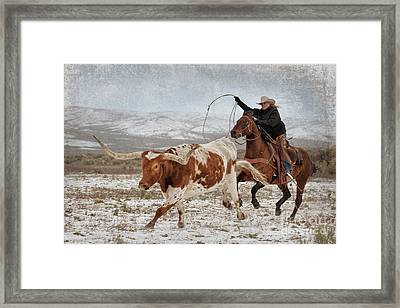 Cowgirl Roping Longhorn Framed Print by Heather Swan