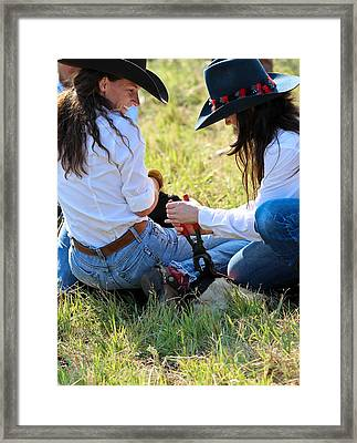 Cowgirls At Work Framed Print by Elizabeth Hart