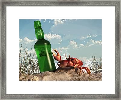 Crab With Bottle On The Beach Framed Print by Daniel Eskridge