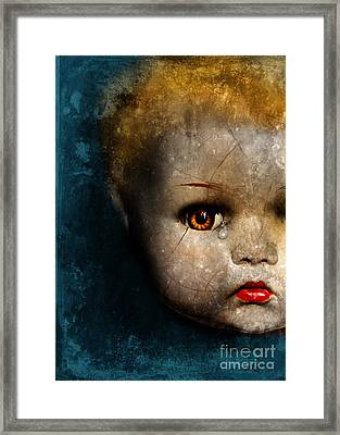 Cracked Doll Head With Tear Framed Print by Jill Battaglia