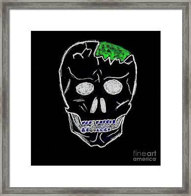 Cracked Skull Black Background Framed Print by Jeannie Atwater Jordan Allen
