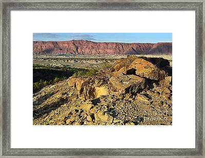 Cracked Stone Framed Print by Juan Stang
