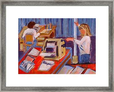 Cranking Out Reams Of Radical Framed Print by Elzbieta Zemaitis