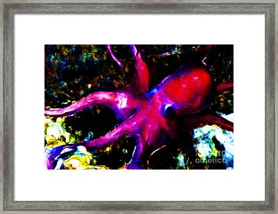Creatures Of The Deep - The Octopus - V3 - Electric - Red Framed Print by Wingsdomain Art and Photography