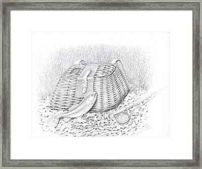 Creel And Fish Framed Print by H C Denney