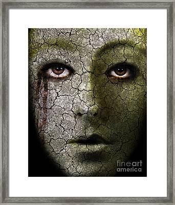 Creepy Cracked Face With Tears Framed Print by Jill Battaglia