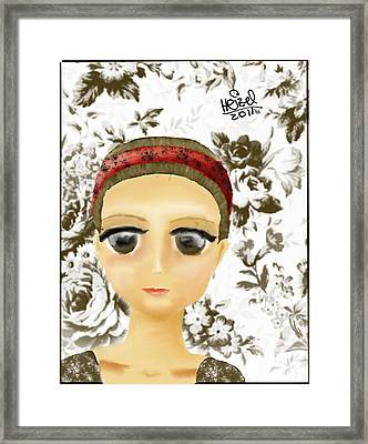Creepy Face Framed Print by Heizel Gonzalez