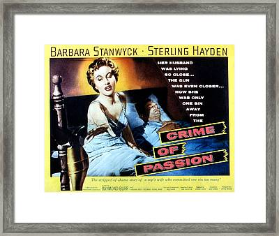 Crime Of Passion, Barbara Stanwyck Framed Print by Everett