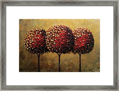 Crimson Companions Framed Print by Christine Krainock