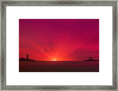 Crimson Sunset Framed Print by Tom York Images