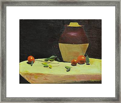 Crock With Fruit Framed Print by Tom Amiss
