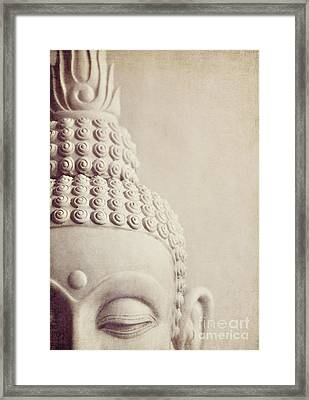 Cropped Stone Buddha Head Statue Framed Print by Lyn Randle