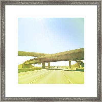 Cross Bridge Over Road Framed Print by A L Christensen
