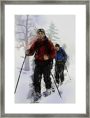 Cross Country Skiers Framed Print by Elaine Plesser