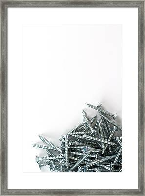 Cross-head Wood Screws On A White Background Framed Print by Chris Rose