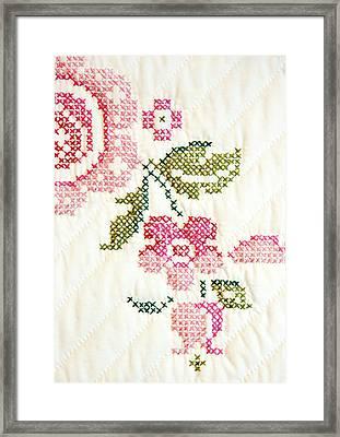 Cross Stitch Flower 1 Framed Print by Marilyn Hunt