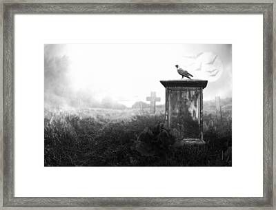 Crow On A Gravestone Framed Print by Jaroslaw Grudzinski