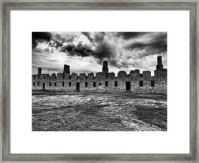 Crown Point Barracks Black And White Framed Print by Joshua House
