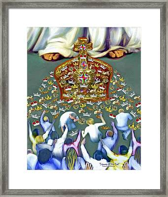 Crowns At His Feet Framed Print by Susanna  Katherine