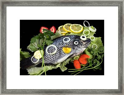 Crucian Fish With Vegetable Framed Print by Paul Ge