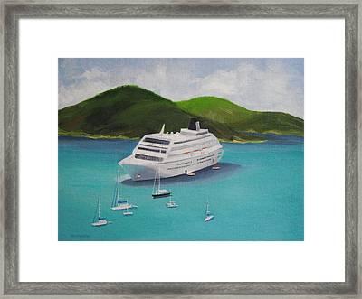 Cruise Ship Off Charlotte Amalie Framed Print by Robert Rohrich