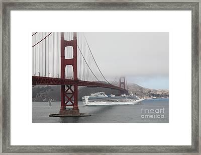Cruise Ship Sapphire Princess Under Foggy San Francisco Golden Gate Bridge - 5d18882 Framed Print by Wingsdomain Art and Photography