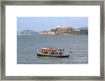 Cruizing The San Francisco Bay On The Pier 39 Boat Taxi With Alcatraz Island In The Distance.7d14322 Framed Print by Wingsdomain Art and Photography