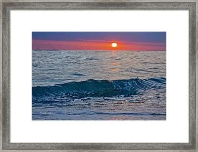 Crystal Blue Waters At Sunset In Treasure Island Florida 3 Framed Print by Robin Lewis