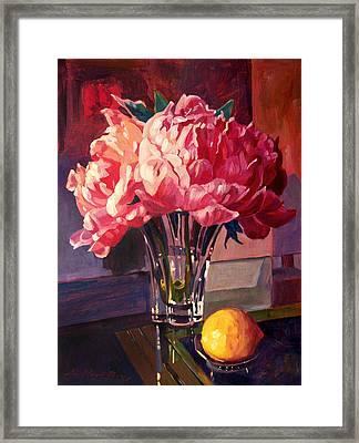 Crystal Pink Peonies Framed Print by David Lloyd Glover