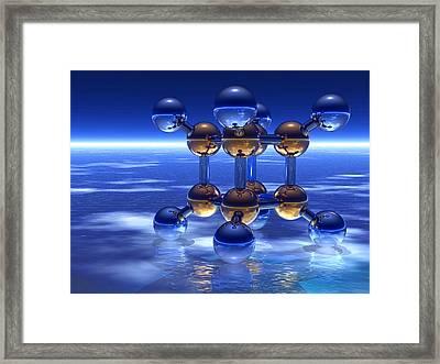 Cubane Molecule Framed Print by Laguna Design