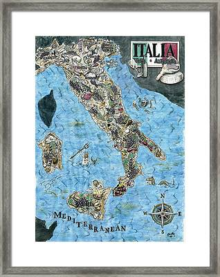 Culinary Map Of Italy Framed Print by Big Tasty