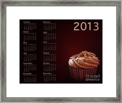 Cupcake Calendar 2013 Framed Print by Jane Rix